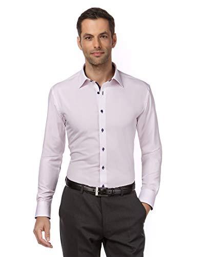 Vincenzo Boretti Herren-Hemd bügelfrei 100% Baumwolle Slim-fit tailliert Uni-Farben - Männer lang-arm Hemden für Anzug Krawatte Business Hochzeit Freizeit Flieder 41-42