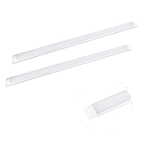 2 Packs 40W 4FT LED Batten Light Low Profile Wall or Ceiling Surface Mounted Fitting for Home/Shop/Office,Slim Aluminium Profile Wide Tube Lighting for Home and Office use ,4000K[Energy Class A]