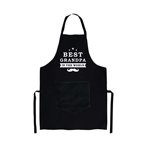 Aprons Gift for Grandpa | Cooking Grilling Bacon Pocket Apron for Grandfather or Dad Black | Funny Apron Gift for Fathers Day | Grandpa Ever Christmas / Birthday Gift from Granddaughter Grandson