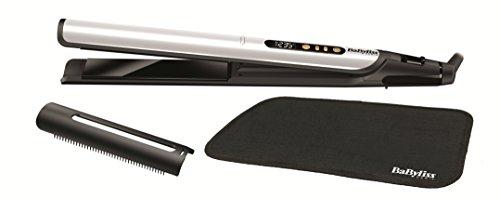 BaByliss ST455E - Plancha de pelo Sensitive Edición Especial White&Gold, placas con cerámica negra anodizadas, 3 veces más suaves y duraderas, protección reforzada, iónica, 6 ajustes de 140º C-235º C