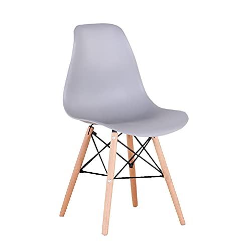 Juego de 4 sillas de Comedor Modernas premontadas de Estilo Medio Siglo de plástico Shell Lounge para Cocina, Comedor, sillas de salón