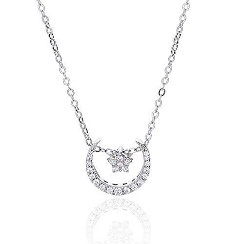 Thumby vrouwen Koreaanse versie van de 925 zilveren sterrenbeeld diamanten eenvoudige mode ster maand hanger S925 sterling zilveren sieraden vrouwelijke ketting