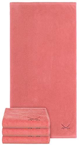 Sansibar Juego de 4 toallas con logotipo de sable bordado, 100% algodón, 50 x 100 cm, color coral