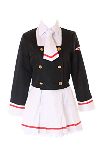 Kawaii-Story MN-59 Card Captor Sakura Schuluniform Weiß Schwarz 5-TLG. Set Anzug Kostüm Manga Anime Cosplay (XXL)