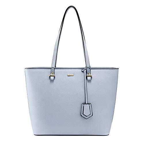 Handbags for Women Large Purses Leather Tote Bag School Shoulder Bag with External Pocket, Light Blue