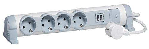 Legrand Draaibare stekkerdoos met controle-schakelaar aan/uit (led) en USB-sleuven, stopcontacten voor bevestiging aan muur en tafel, 4-fach, wit/grijs