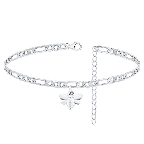ZZ ZINFANDEL Cut Figaro Link Chain Bracelet Crystal Butterfly Bracelet Bee Bracelet Star Bracelet Mountain Peak Bracelet for Women Teen Girls 25.40 cm