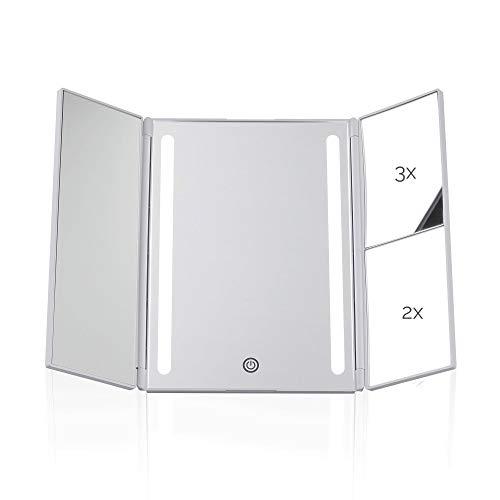 Pauleen Chic Glamour Mirror Schminkspiegel Touchdimmer und Vergrößerungsspiegel LED Kosmetikspiegel mit Licht Weiß matt Kunststoff/Spiegel 48006