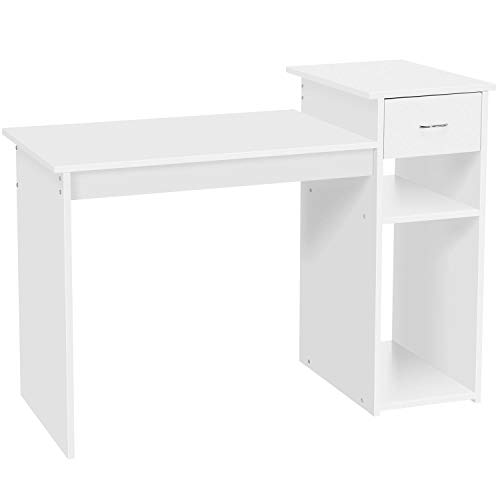 Yaheetech White Compact Computer Desk with Drawer/Shelf for Small Spaces Home Office Furniture