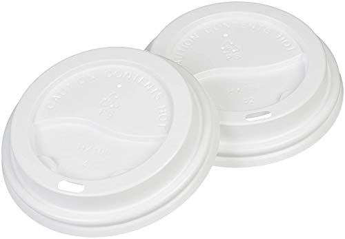 500 X Disposable Lids for Paper Cups for Sizes 8oz, 10oz, 12oz and 16oz Color White Or Black Supplied in Manufacturer Sealed Sleeves (8OZ/10OZ)