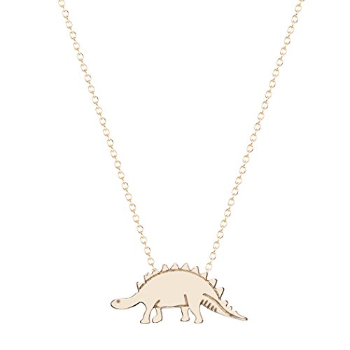 Chandler 2019 Vintage Gold Colour Silver Plated Dino Dinosaur Stegosaurus Necklaces Body Clavicle Chain Fashion Collar For Women gold