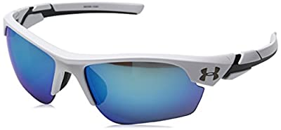 Under Armour Kid's Windup Sunglasses, Shiny White / Blue Multiflection Lens, 58 mm