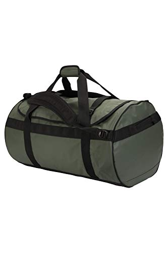 Mountain Warehouse 90L Cargo Bag - Heavy Duty Travel Backpack with Padded Rucksack Straps, 3 Ways to Carry Duffle Bag - Best for Camping, Travelling, Gym Dark Green