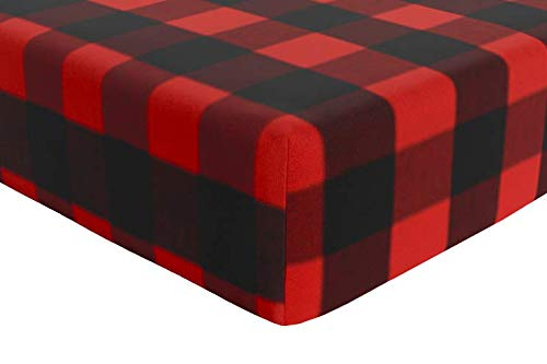 AllTot Fitted Crib Sheet in Black and Red Buffalo Check Plaid Organic Cotton - Boy Woodland Crib Bedding - Handmade in The USA
