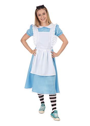Emmas - Disfraz de Alice para armario, incluye vestido azul para adultos, delantal blanco, diadema y medias | Talla 34  48 (mujeres: 8  10, azul)