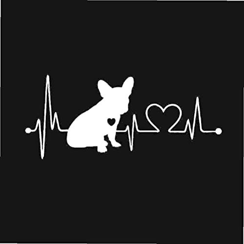 Car Sticker 3D 18x7.7cm French Bulldog Heartbeat Bumper Sticker On Car Funny Stickers and Decals Vinyl Decor Car Styling
