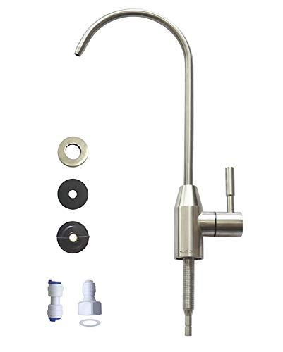 Grifo de agua potable, grifo de fregadero de cocina, grifo de bebida para agua potable, sistema de filtración de filtro, tubo de 1/4 pulgadas, sin plomo, acero inoxidable cepillado por Kinglev
