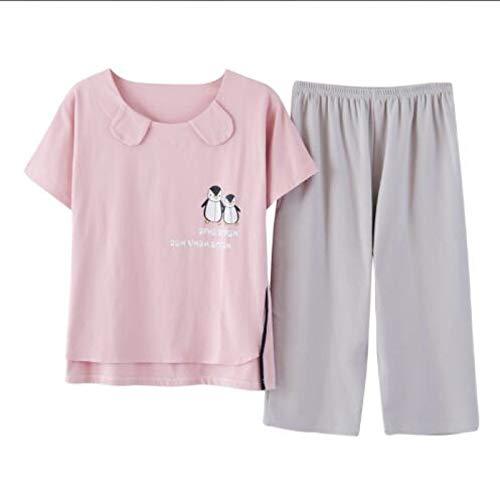 XFLOWR Sommer 100% Baumwolle Cartoon Damen Kurzarm Pyjama Set Rundhals Lässig Bequem...