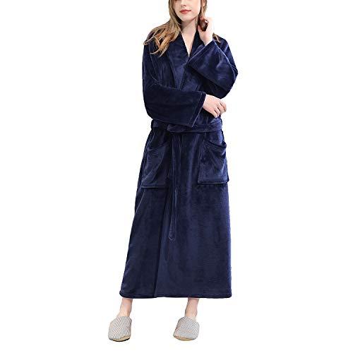 YCLOTH Womens Housecoat Slaapkleding, Sjaalkraag Lange Robe, Winter Flanellen Dressing Jurk Badjas Dames Nachtjapon