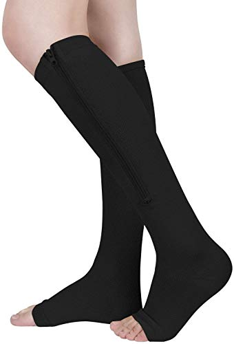 ASPCOK (2 pares) 15-20 mmHg Calcetines médicos de compresión con cremallera Soporte de pierna con cremallera Unisex Rodilla abierta (Negro, XXL)