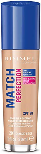 Rimmel London Match Perfection Foundation Fondotinta Liquido, Pelle Ottima e Levigata a Lunga Tenuta, con SPF 20, 201 Classic Beige, 30 ml