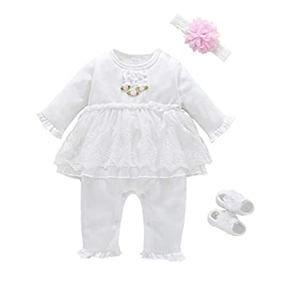 Baby Brielle Layette Onesie with Matching Headband and Socks in Box Registry Must Haves Gift Set for Girls (Pink Lace, 3M)