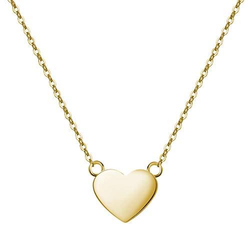 URBANHELDEN - Süße Herz Kette - Damenkette mit Herzchen - Schmuck Halskette Edelstahlkette - Herzkette Schmuck - Damen Collier Herz Basic Mini Gold