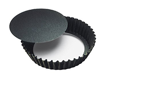 Paderno World Cuisine Fluted Non-Stick Tart Mold with Removable Bottom, 4x1-inch
