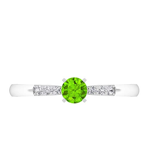 Rosec Jewels 14 quilates oro blanco redonda round-brilliant-shape H-I Green Diamond Creado en laboratorio de kryptonita