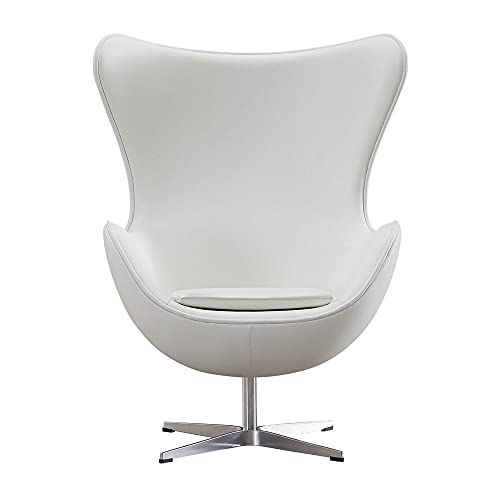 Vivol Egg Chair - Silla de piel auténtica, color blanco