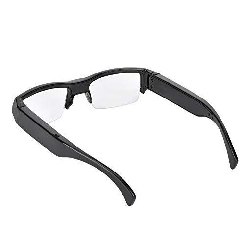 ANGGREK Video Glasses Mini 1920x1080 HD Camera Flat Lens Half Frame Glasses PC Dual Lens and Environmental Protection TPU Material Frame Camera Glasses with Video Recorder