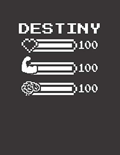 DESTINY: Pixel Retro Game 8 Bit Design Blank Composition Notebook College Ruled, Name Personalized for Girls & Women. Gaming Desk Stuff for Gamer ... Gift. Birthday & Christmas Gift for Women.
