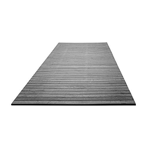 NuvolaNera Tappeto arredo bagno e cucina in bambù effetto slavato rifinito a mano – Retro antiscivolo in EVA – 50x230 cm Grigio