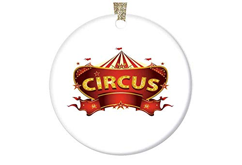 Joseph-Othniel A Circus Sign Baroque Style Big Top Enjoyment Theme Marquee Nightlife Retro-Round Glossy Ceramic Christmas Ornament with Gold Ribbon & Free Gift Box - 2.87'