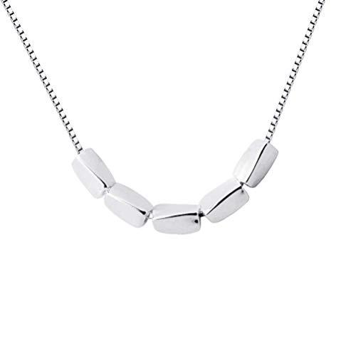 S925 zilveren halsketting voor dames Koreaanse schattige kleine zilveren bonen kunst kleine verse bonen rijst, korte sleutelhanger, S925 zilveren ketting, 925 zilver, EEH A ZILVER