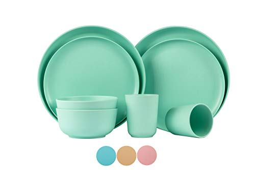 Set for 2-person (8 PCS) /bamboo fiber dinnerware dishwasher safe, reusable dishes for dorm, travel bowl& cup, Plate set, Eco-friendly Stackable Bamboo Dinnerware Set, Mother's Day Gift (Green)