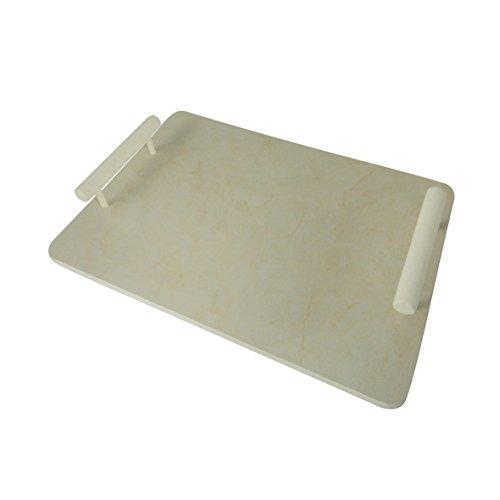 CVHOMEDECO. Plateau de service rectangulaire en marbre avec poignée pour vaisselle, décoration de table, accessoire de cuisine ou salle à manger, petit-déjeuner, café Blanc, 39 x 27 x 6.4 cm