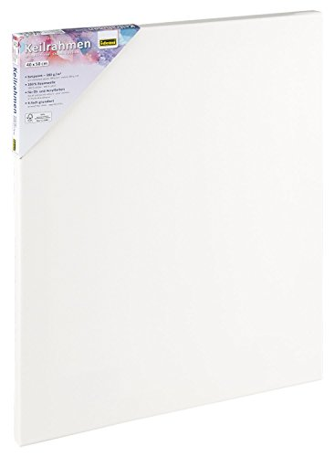 Idena 60033 - Keilrahmen mit Leinwand aus 100% Baumwolle, 380 g/m², FSC zertifiziert, für Öl- und Acrylfarben, ca. 40 x 50 cm, weiß