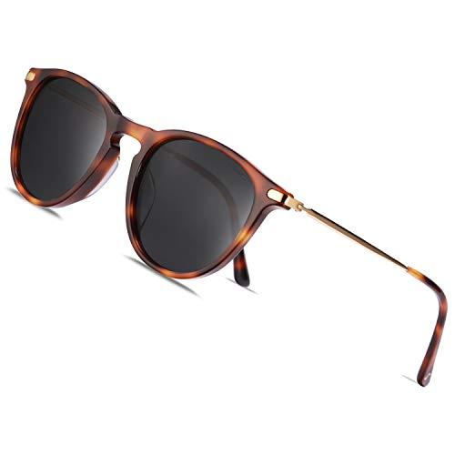 TSEBAN Vintage Damen Sonnenbrille Polarisierte Frauen Brille, Acetat-Rahmen & UV 400 Schutz,B - Schildpatt,Einheitsgröße