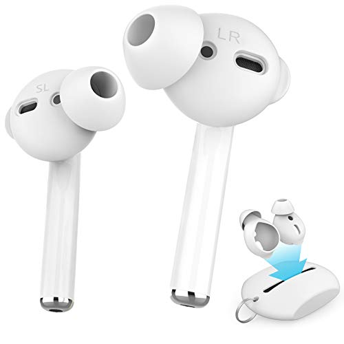 AhaStyle 4 Pairs AirPods Ear Tips Silicone Earbuds Cover【Not Fit in The Charging Case】 Compatible with Apple AirPods/AirPods 2/ EarPods (2 Pair Large & 2 Pairs Small, White)
