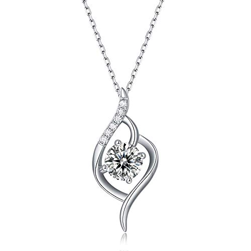 pengge Collar De Moissanita De Plata 925, Collar Colgante Clásico De Forever Love Heart Women para Regalos del Día De San Valentín para Mujeres, Leaves