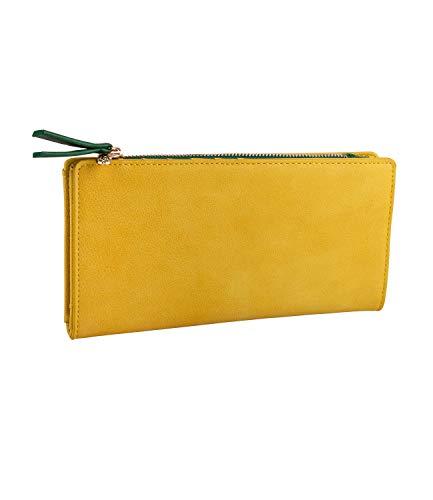 SIX Damen Geldbörse, Portemonnaie in senfgelb mit grüner Innentasche, goldene Details, Ananas als Verschluss, viele Fächer (703-572)