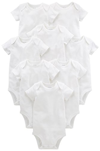 Simple Joys by Carter's Baby 8-Pack Short-Sleeve Bodysuit, White, 0-3 Months