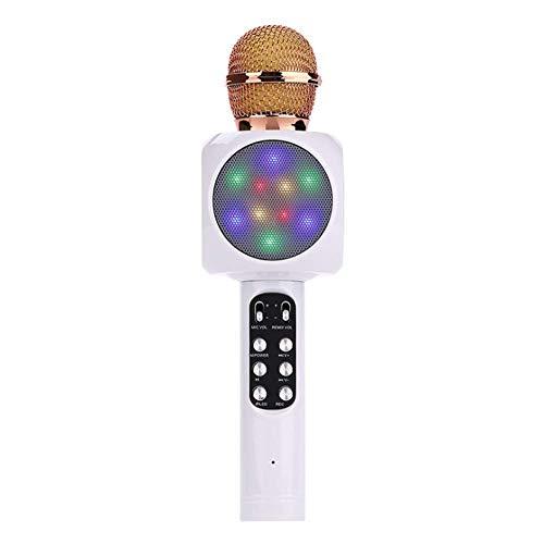 Bostar Karaoke Micrófono altavoz grabadora con puerto USB para hogar casa fiesta inalámbrico portátil 3.5mm estéreo PC teléfono inteligente móviles para cantar (7#)