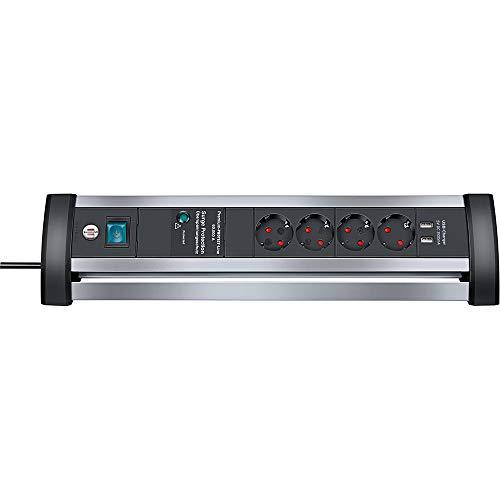 Brennenstuhl Alu-Office-Line Steckdosenleiste 4-fach mit Schalter und Überspannungsschutz (ideal für den Schreibtisch, 1,8m Kabel, 2-fach USB 3,1 A, Made in Germany) silber/schwarz