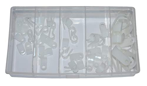5er Set Kunststoffschellen Rohrschellen Kabelschellen weiß/transparent