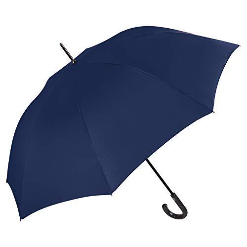 Ombrello Blu Golf Classico Uomo - Ombrello Lungo Automatico Tinta Unita - Grande Antivento e Resistente in Fibra di Vetro - PFC FREE - Diametro 120 cm - Perletti Technology (Blu)