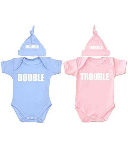 Babyprem Baby Twins Bodysuit & Knotted Hat Set Double Trouble Pink & Blue 0-3 Months