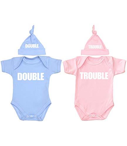 Babyprem Baby Twins Bodysuit & Knotted Hat Set Double Trouble Pink & Blue 0-3 Months