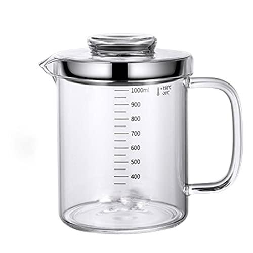 Lpiotyuyh Dispensador de botellas de aceite Recipiente de grasa de tocino, bandeja de filtro de aceite de cocina, con filtro de malla fina, filtro de grasa de vidrio, más adecuado para cocina de cocin